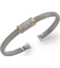 diamond mesh bangle bracelet in 14k gold and sterling silver (1/8 ct. t.w.)