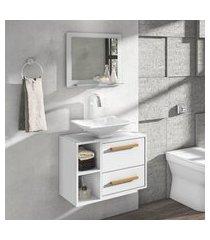 conjunto para banheiro barcelona móveis bechara 1 porta 1 gaveta branco