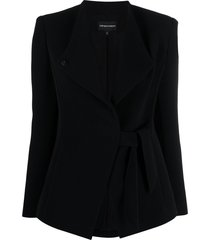 emporio armani tied-waist single-breasted coat - black