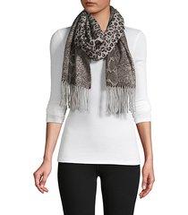 animal-print reversible wool scarf