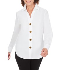 women's foxcroft aris solid button-up blouse, size 2 - white