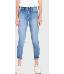 jeans wados pitillo roll up azul - calce ajustado