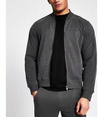 river island mens mcmlx dark grey velour zip sweatshirt