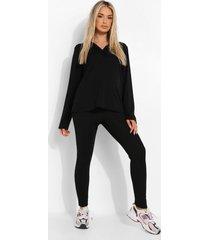 zwangerschap oversized leggings set met knoop detail, black