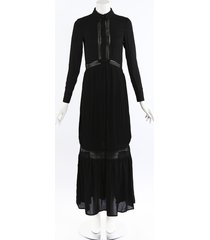 self portrait ebony black embroidered maxi shirt dress black sz: xs