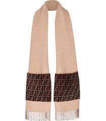 fendi touch of fur scarf - neutrals