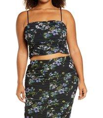 plus size women's afrm capri floral powermesh crop top, size 1x - black