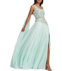 grecian one-shoulder chiffon gown