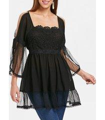 open shoulder square neck flounced blouse