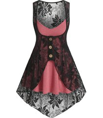 heathered flare cami top and flower lace vest