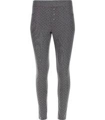 leggings rayas cuadros con botones color gris, talla 12