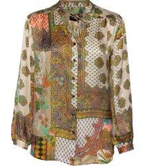 3370 - cecil blouse lange mouwen multi/patroon sand