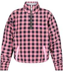 natasha zinko pink and black jacket for girl with noen pink logo