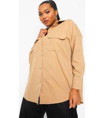 plus oversized blouse met zak, lichte steen