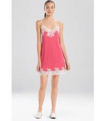 natori enchant lace trim chemise pajamas, women's, pink, size l natori