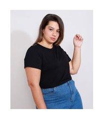 camiseta plus size feminina manga curta básica com botões decote redondo preta