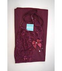 camisola sensual com detalhes em renda ms fashion bordô