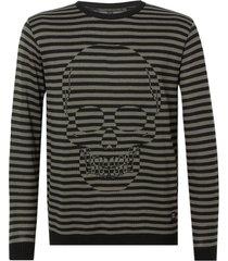 blusa john john tricot antonio listrado masculina (listrado, gg)