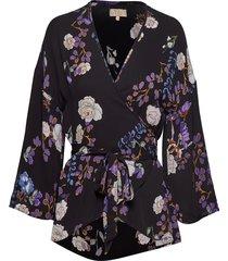 vintage drape kimono top blouse lange mouwen multi/patroon by ti mo