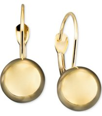 10k gold earrings, ball leverback