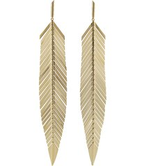large feather drop earrings