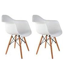conjunto com 2 cadeiras charles eames com braço i branco