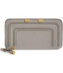 women's chloe 'marcie - long' zip around wallet - grey
