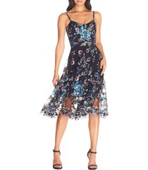 dress the population uma cocktail dress, size small in black multi at nordstrom