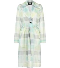 checked organza trench coat