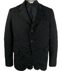 comme des garçons homme plus blazer drapeado com efeito jacquard - preto