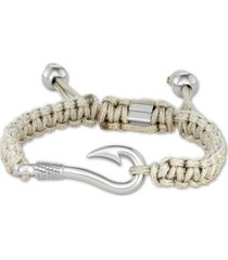 men's steel hook & cord bolo bracelet in stainless steel