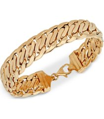 wide fancy link chain bracelet in 14k gold