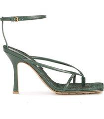stretch 90 dark green leather thong