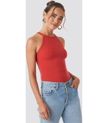 na-kd high neck ribbed body - red