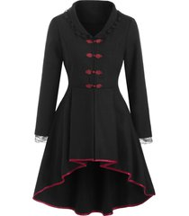 frog button lace-up wool blend high low coat