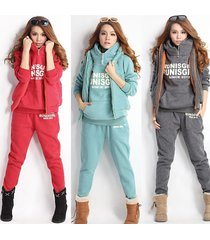 new women lady casual sports hoodies coat vest pants 3pcs sweat suit tracksuit