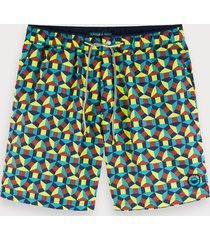 scotch & soda mid-length printed swim shorts