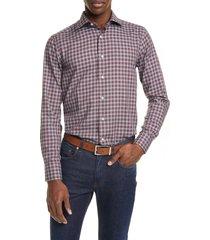 men's big & tall canali regular fit check dress shirt, size 18 - red