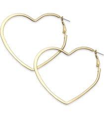 "thalia sodi extra large 2.6"" flat heart hoop earrings, created for macy's"