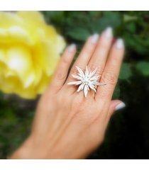 szarotka duża biała - pierścionek regulowany