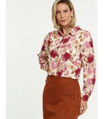 camisa estampa floral manga longa marisa feminina
