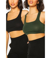 2 pack square neck racer crop top, olive