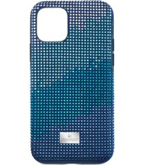 swarovski crystalgram silver-tone crystal & fabric iphone 11 pro smartphone case with bumper