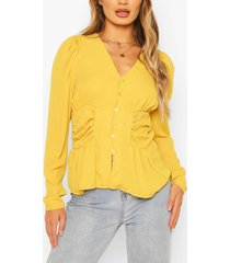 woven ruched button through blouse, yellow
