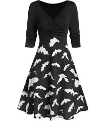 bat print fit and flare plunge dress
