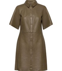 evinkb leather dress dresses everyday dresses grön karen by simonsen