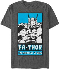 marvel men's classic comics thor mightiest of dads poster, short sleeve t-shirt