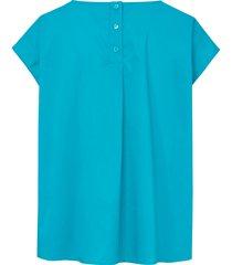 shirt met verbrede schouders en knoopsluiting van day.like turquoise