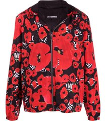les hommes poppy print lightweight jacket - red