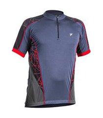 camiseta poker ciclista c/ ziper manga curta fury chumbo e vermelho - m incolor